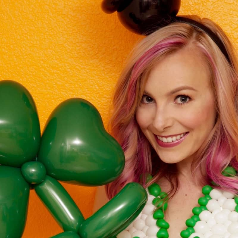 Trish with her shamrock balloon